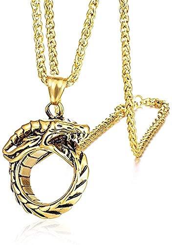 FacaBa - Collar de cola de serpiente, collares y colgantes circulares, collar de eslabones de cadena de acero inoxidable para hombres, 24 pulgadas, joyería punk, colgante, collar para niñas, regalo pa