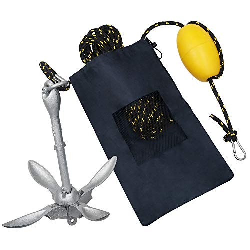 Obcursco Kayak Anchor, Marine Anchor Kit, 3.5 Pound Folding Grapnel Kayak Anchor for Kayak Fishing, Canoe, Jet Ski, SUP Board and Small Boat with 50 Feet Marine Anchor Line (Black & Yellow)