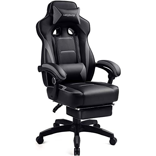 Luckracer Gaming Chair Office Desk Chair with Footrest Pu Leather High Back Adjustable Swivel Lumbar Support Racing Style E-Sports Gamer Chairs,Gray