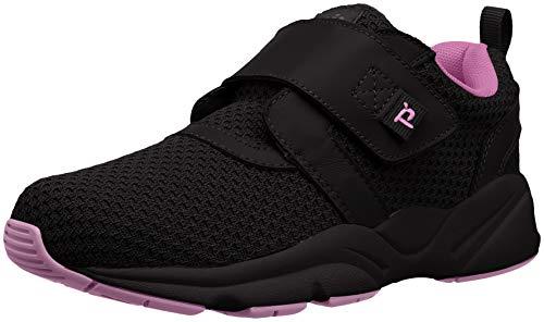 Propet Women's Stability X Strap Sneaker, Black/Berry, 8.5 Wide