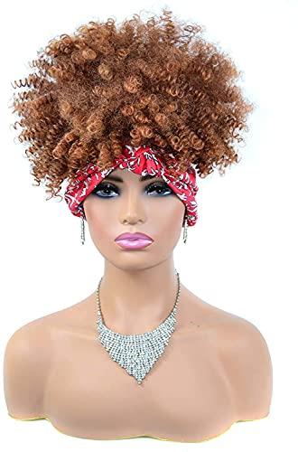 Peluca corta de pelo marrn, peluca sinttica para la cabeza, peluca afro rizada, peluca envuelta 2 en 1, peluca completa Updo turbante peluca marrn claro (color marrn claro)