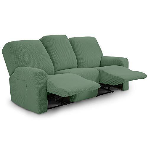 TIANSHU Funda reclinable para sofá de Dos plazas, 8 Piezas para 3 Asientos, Funda reclinable de Jacquard para sofá de 3 Cojines, Funda elástica para sofá(Sillón Relax 3 Plaza, Cian)