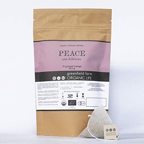 Peace Organic Tea Bags – Herbal Infusion 15 Pyramid Tea Bags Whole Leaf – Ayurvedic Wellness Blend Lemongrass, Hibiscus, Cinnamon, Cardamom, Peppermint – Organic Life – Naturally Calms & Relaxes (1)