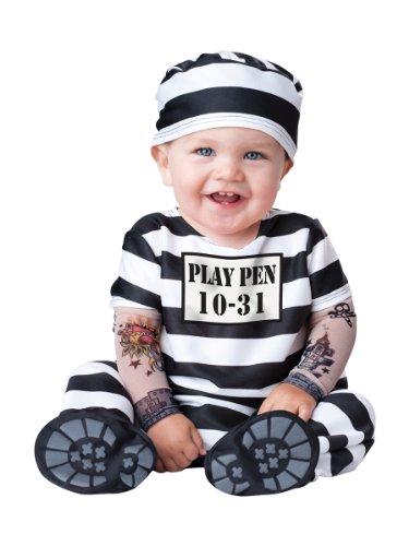 Baby Prisoner Halloween Costume: Infant Jailbird Costume (6-12 Months) Black and White
