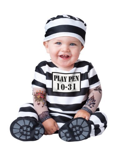 Baby Prisoner Halloween Costume: Infant Jailbird Costume (18-24 Months) Black and White