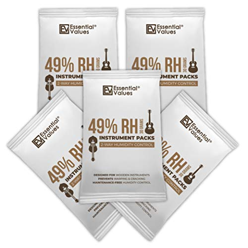 Guitar Humidifiers (5 Pack / 30 Grams), 49-Percent RH Instrument Packs | 2-Way Control, Keeps Wood Instruments Optimal at 45-50% Relative Humidity by Essential Values