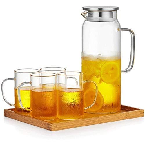 JY&WIN Tetera Juego de té de Vidrio Taza Elegante Tetera Gruesa Tetera doméstica Resistente al Calor Taza de Ceremonia de té de Oficina con Filtro Taza de té