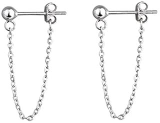 Tiny Ball Earrings with Chain Dangle Earrings 925 Sterling Silver Stud Earrings