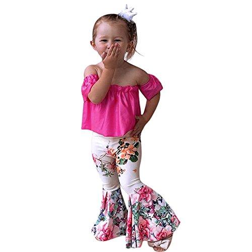 Kobay Baby Mädchenkleidung Set Mädchen Feste Schulterfreie Oberteile + Floral Flare Pants Outfits 2er Set(2-3T,Pink)
