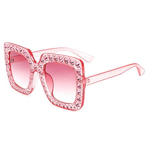 ROYAL GIRL Sunglasses For Women Oversized Square Luxury Crystal Frame Brand Designer Fashion Glasses (Pink-Gradient, 67)