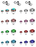 SCERRING 14G Dermal Piercing Jewelry Anchor Tops and Base Titanium Microdermals Piercing for Women Men Jeweled CZ 2mm 3mm 4mm 27PCS