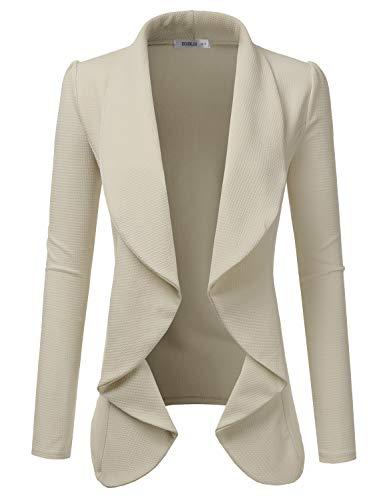 Doublju Classic Draped Open Front Blazer for Women with Plus Size Stone 1X