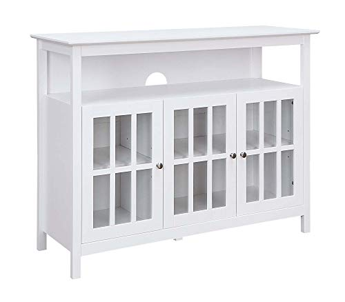 """Convenience Concepts Big Sur Deluxe 48"""" TV Stand with Storage Cabinets and Shelf, White"""