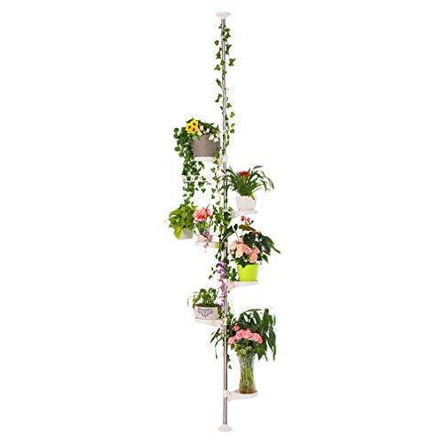 Hershii - Soporte de 7 niveles para plantas de interior, decorativo de metal para macetas, estante de exhibición de suelo a techo ajustable, esquinero para el suelo, ahorro de espacio, color marfil