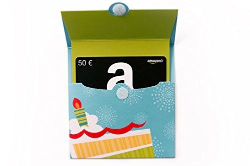 Carte cadeau Amazon.fr - €50 - Dans un étui Anniversaire