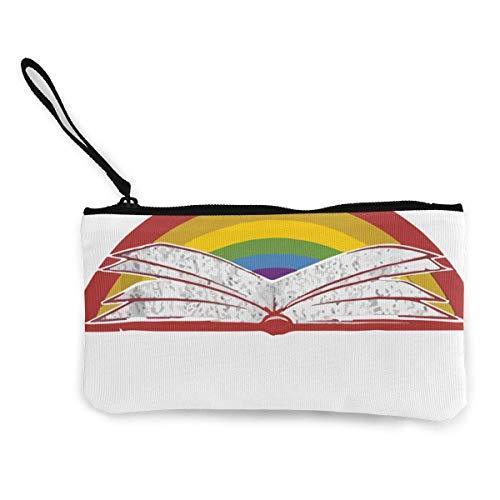 TTmom Damen Leinwand Geldbörse Portemonnaie Geldbeutel, Retro Rainbow Reading Book Unisex Canvas 3D Print Pattern Coin Purse Wallets for Men and Women