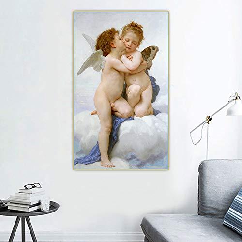 SIRIUSART William Adolphe Bouguereau 《el Primer Beso》 Lienzo Pintura al óleo Obra de Arte Póster Imagen Fondo de Pared Decoración Decoración del hogar (80x160cm) 32'X63 sin Marco