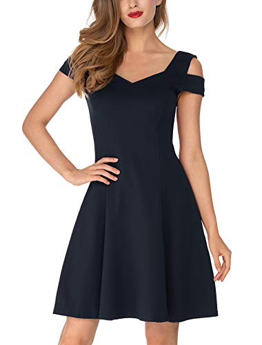 InsNova Women's Summer Navy Blue Semi Formal Short Cocktail Dresses for Wedding Guest Homecoming Vacation