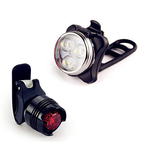 JUSHINI Fahrradlicht Set Ultra Hell LED Fahrradlampe Vorderlicht und Rücklichter Nachtfahrt Sicher Mountain Cycling USB Wiederaufladbare Fahrradbeleuchtung 3 Lichtmodi Mit 1 USB-Ladekabel