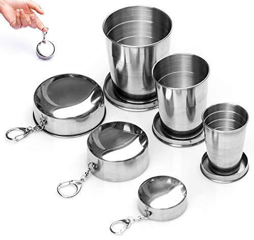 Chingde Faltbare Tasse Edelstahl, 3 Stück Zusammenklappbar Tasse, Faltbare Kaffeetasse, Reise Faltbare Tasse, Campingbecher für Reise Picknick Wandern Outdoor
