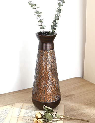 Luxspire Vaso in Resina, Vaso Decorativo per Casa, Vasi a Design Mosaico, Vaso da Fiori, Vaso Decorativo da Interno, Vasi Tradizionali, Vasi per Piante, per Decorazione Matrimonio Festa, Bronzo
