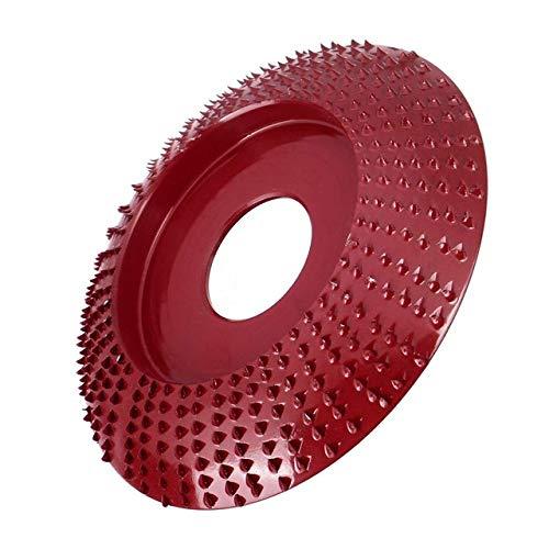 Muela de amolar en ángulo de madera, herramienta rotativa de tallado y lijado, disco abrasivo para amoladora angular, carburo de tungsteno, forma de orificio de 22 mm, rojo vino
