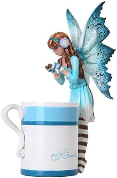 6 25 Inch Hot Cocoa Fairy Standing By Mug Mystical Statue Figurine