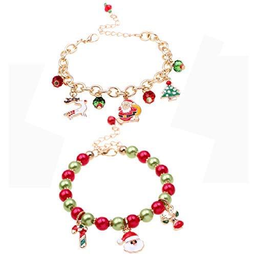 2 pulseras de Navidad, árbol de Navidad, Santa Claus Jingle Bell Alce Reno Cuelgan Cuentas Charm Regalo Joyería para Mujeres..