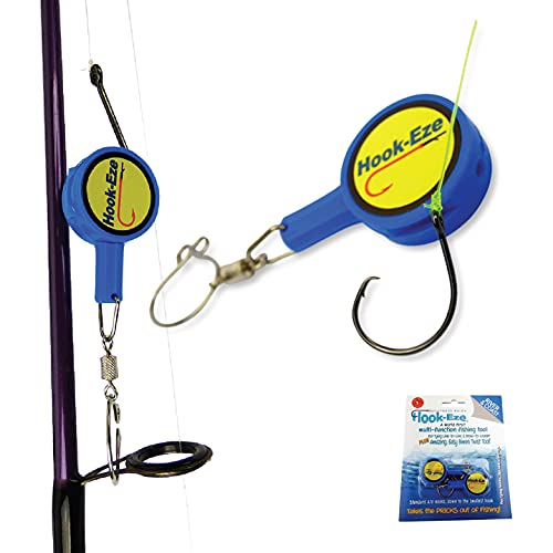 Hook-Eze Fishing Tool (Blue) Hook Tying & Safety Device + Line Cutter – Cover Hooks on 2 Poles & Travel Safely fully rigged. Multi function Fishing Device