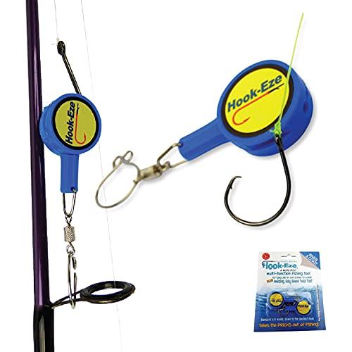 Hook-Eze Attrezzo da pesca (blu) Gancio legatura e dispositivo di sicurezza + taglierina – Copertura ganci su 2 poli & viaggio sicuro completamente attrezzato. Multi funzione dispositivo di pesca
