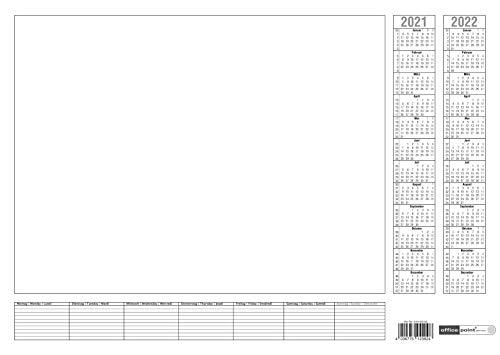 2 Stück Papier-Schreibunterlage weiß Office Point | ca. DIN A2 | 2-Jahres-Kalender 2022-2023 Wochenplan | Tischkalender mit 7-Tage Wochenplaner | 2x25 Blatt (2)