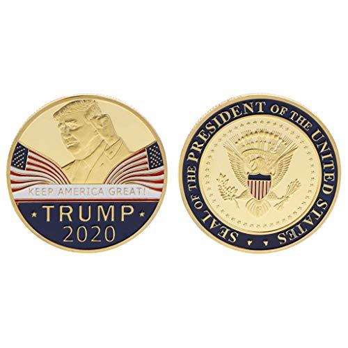 Q-XIAOKEAI Comemorativo Coin America Presidente Trump 2020 Coleção Discurso Artesanato Armazenamento de Arte Lembrança Presentes Redondos de Liga