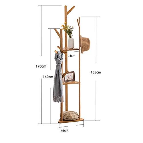 JHYMJ Kledinghaken, bamboe, kapstok, kledingrek, kledingrek, wieltjes, kledingstang, nivelleringsvoetjes