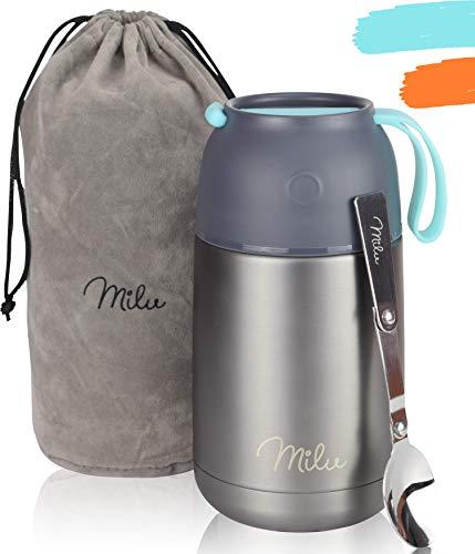 Milu® Thermobehälter Lunchbox 450, 650ml | Edelstahl Isolierbehälter Gefäß für warme Speißen, Essen, Babynahrung, Suppe, Obst | Behälter für Baby | Speisegefäß | Thermogefäß (Grau/Blau, 650ml)