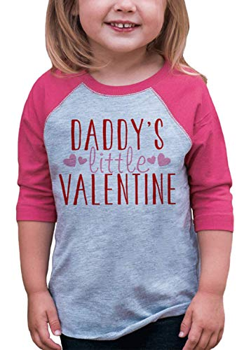 7 ate 9 Apparel Girl's Daddy's Little Valentine Baseball Tee Small Pink