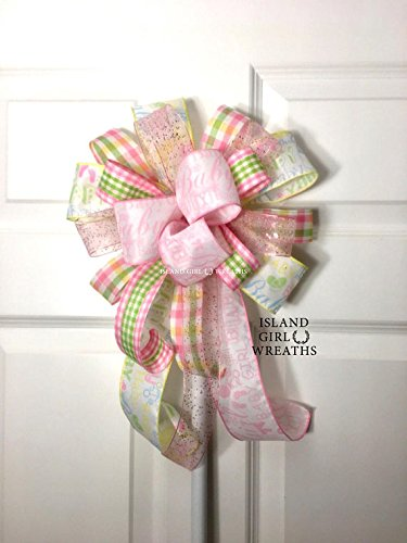 It's A Girl, It's A Girl Decoration, Baby Shower Decorations, Baby Shower Wreath Bow, Wreath Bows, Wreath Bow, It's A Girl Wreath Bow