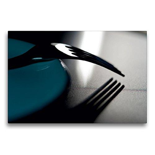 Premium Textil-Leinwand 75 x 50 cm Quer-Format Gabel an Teller | Wandbild, HD-Bild auf Keilrahmen, Fertigbild auf hochwertigem Vlies, Leinwanddruck von Helmut Probst