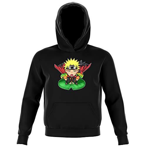 Sweat-Shirt à Capuche Enfant Noir Parodie Naruto - Naruto en Mode Sennin - Crôa Crôa No Jutsu !! (Sweatshirt de qualité Premium de Taille 5-6 Ans - imprimé en France)