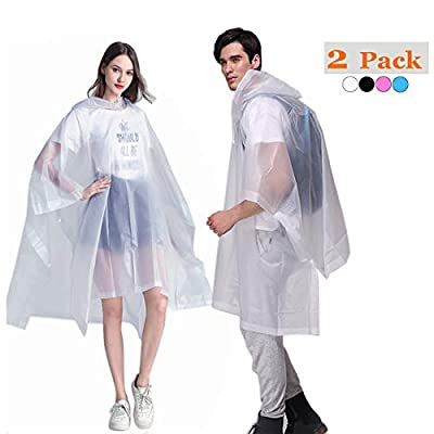 HLKZONE Rain Ponchos for Adults, EVA Reusable Raincoats Emergency Camping Survival Kits for Outdoors, 2 Pack (A-White)