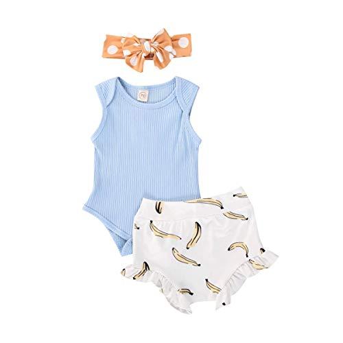 3Pcs Newborn Baby Girl Summer Shorts Outfit Sleeveless Bodysuit Romper+Ruffles Short Pants+Headband Clothes (Blue Leaf, 12-18 Months)