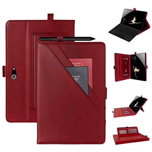 QGT Tablet Case for Microsoft Surface Go 10.1 inch Horizontal Flip Double Holder Leather Case with Holder & Card Slots & Photo Frame (Color : Red)
