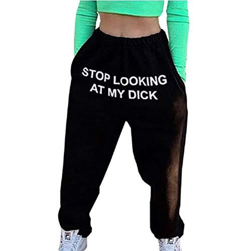 Pantalones de Deporte para Mujer Pantalones Harén Estampado Stop Looking AT MY Cintura Alta Estilo Hip Hop Jogging Pantalones Unisex (Negro,L)