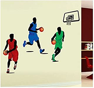 Amaonm® Removable DIY Player Playing Basketball Wall Decal Slam Dunk Basketball Players Wall Stickers Murals Peel Stick Wall Decor For Kids Room Child Bedroom Classroom Boys Palyroom