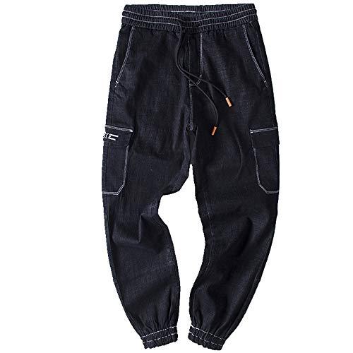 Preisvergleich Produktbild NOBRAND Spring Trend Plus Size Herren Hose Fashion Schwarz Casual Elastische Taille Beam Leg Jeans Gr. XXXXXL,  Schwarz