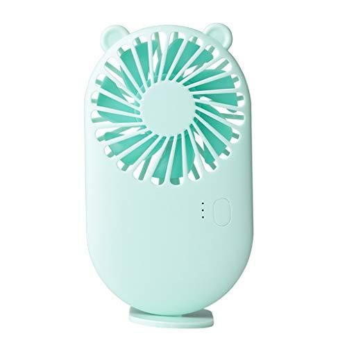PPuujia Mini ventilador de refrigeración de aire recargable Ventilador de escritorio portátil de bajo ruido para oficina de viaje al aire libre regalo para niños (color : oso verde)