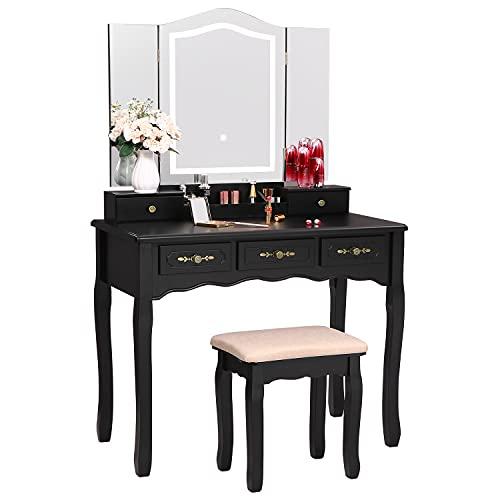 ANWBROAD Juego de tocador para mesa de maquillaje, 10 bombillas LED, gran espejo sin marco, con 7 cajones, 3 divisores, organizador extraíble, color blanco BDT08W