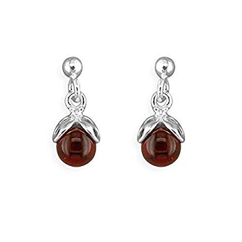 Orecchini in argento Sterling e ambra, design unico Ciondolo per cellulare a forma di coccinella in ambra, a forma di goccia con ambra, per gli amanti dei gioielli