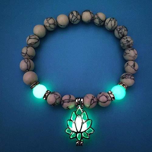 Pulsera Mujer Piedras Naturales Luminosas Que Brillan En La Oscuridad Pulsera Pulsera con Forma De Flor De Loto para Mujeres Yoga Oración Budismo Joyería Blanco