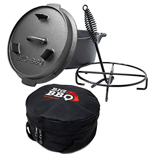 ToCis Big BBQ Horno holandés de alta calidad 4.5, hierro fundido quemado, 10 cacerolas sin patas, juego con bolsa y accesorios