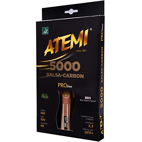 Atemi Tischtennisschläger 5000 | Carbon-Balsa-Holz | Profi-Schläger für maximale Geschwindigkeit, Rotation & Kontrolle | Wettkampfklasse | 7 Schichten | Aktualisierte Griffe, Farben & Verpackung